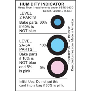 13869-HUMIDITY INDICATOR CARD, 5% 10% 60% RH, J-STD-033C, 125 EA