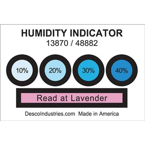 13870-HUMIDITY INDICATOR CARD, 10% 20% 30% 40% REVERSIBLE, 100 EA