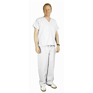 17034-ESD SCRUBS, PANTS, HEAVYWEIGHT , WHITE, MEDIUM