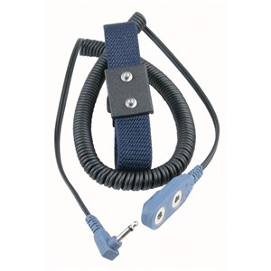 WRIST STRAP, DUAL, ADJUSTABLE, 4MM SNAPS, 12' RT ANGLE CORD