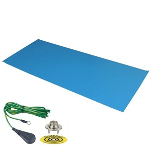 66211-DUAL-LAYER RUBBER MAT, LIGHT BLUE 0.060''x24''x36'', W/GRND