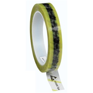 WESCORP ESD TAPE, CLEAR YELLOW STRIPE, 3/4''x72YDS, 3'' CORE