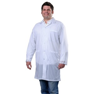 73622-SMOCK, STATSHIELD, LABCOAT, SNAPS, WHITE, MEDIUM