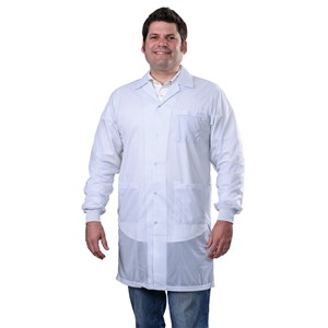 SMOCK, STATSHIELD, LABCOAT, KNITTED CUFFS, WHITE, MEDIUM