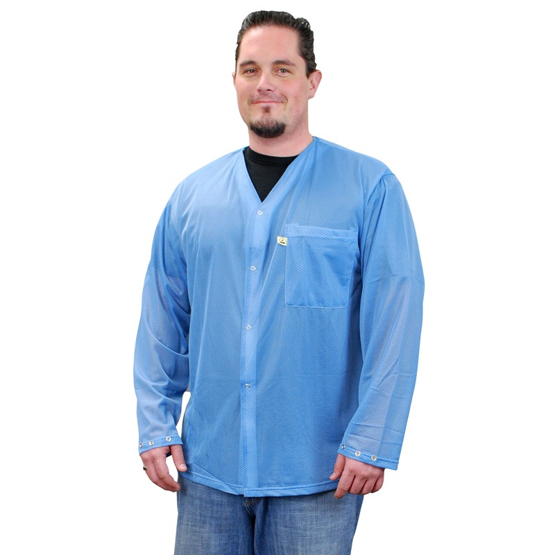 04640-SMOCK, TRUSTAT, JACKET, BLUE, SNAPS, SM, 1 POCKET, NO COLLAR