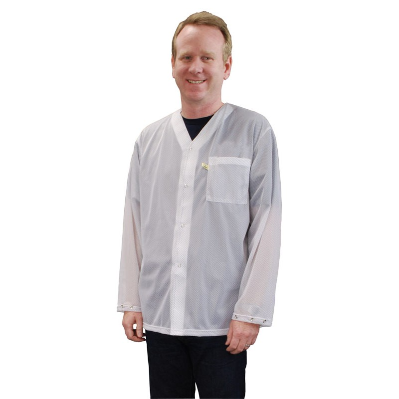04657-SMOCK, TRUSTAT, JACKET, WHITE, SNAPS, 4XL, 1 POCKET, NO COLLAR