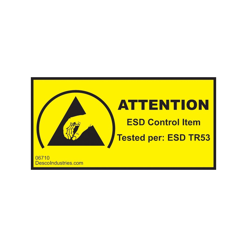 06710-LABEL, ESD CONTROL ITEM TESTED 1''x2'', PERMANENT, RL/1000