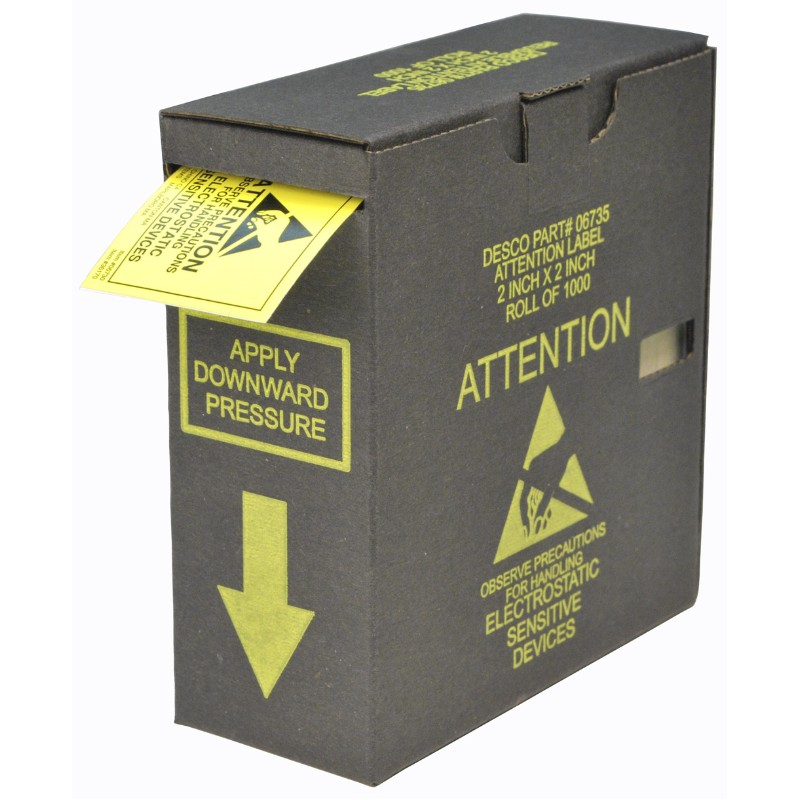 06735-LABEL, ESD ATTENTION, 2''x2'', ROLL OF 1000, W/DISPENSER BOX