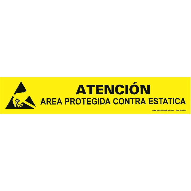 06752-SIGN, BENCH, HAND/ARC SPANISH 1'' x 6''
