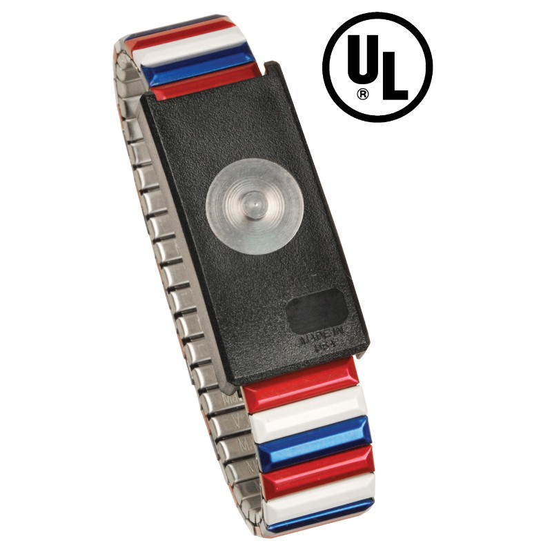 09201-WRISTBAND, JEWEL, MAGSNAP, ADJ METAL, RED-WHITE-BLUE