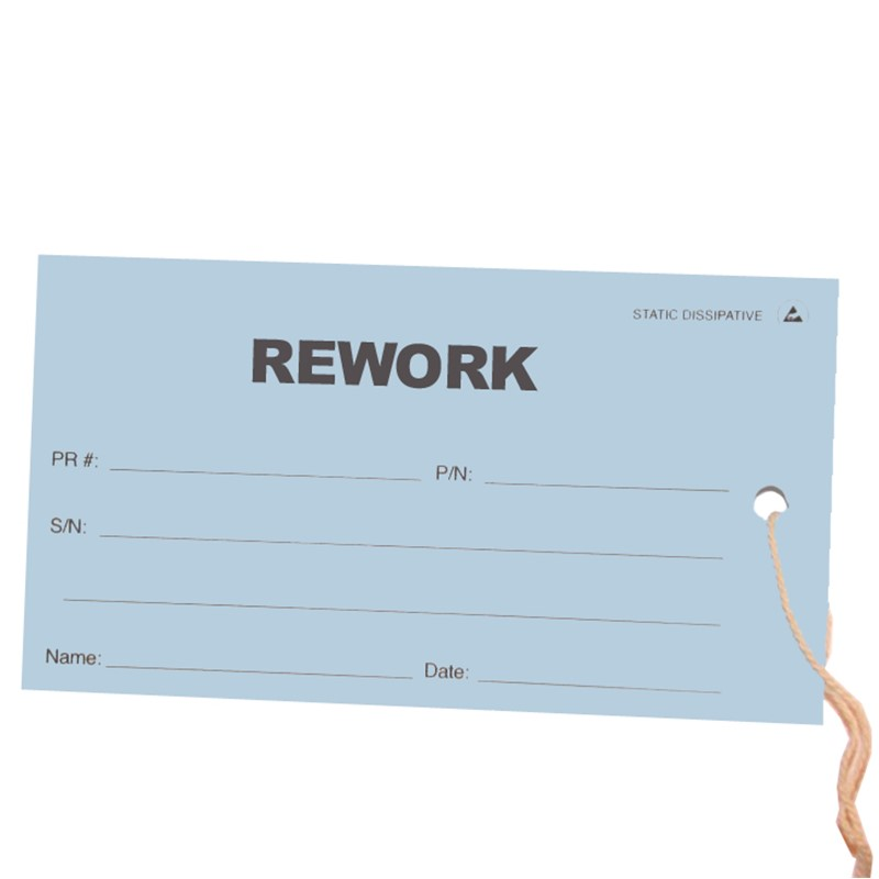 16103-TAG, ESD, REWORK, BLUE, 2.75'' x 5'', PACK OF 100