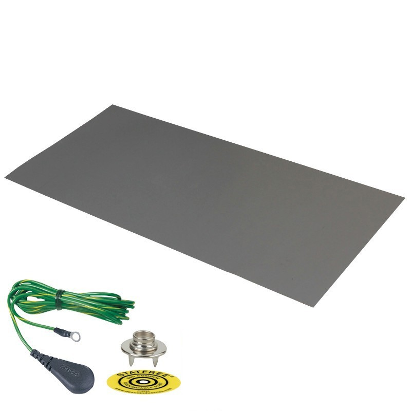 66223-DUAL-LAYER RUBBER MAT, GREY, 0.060''x24''x36'', W/GRND