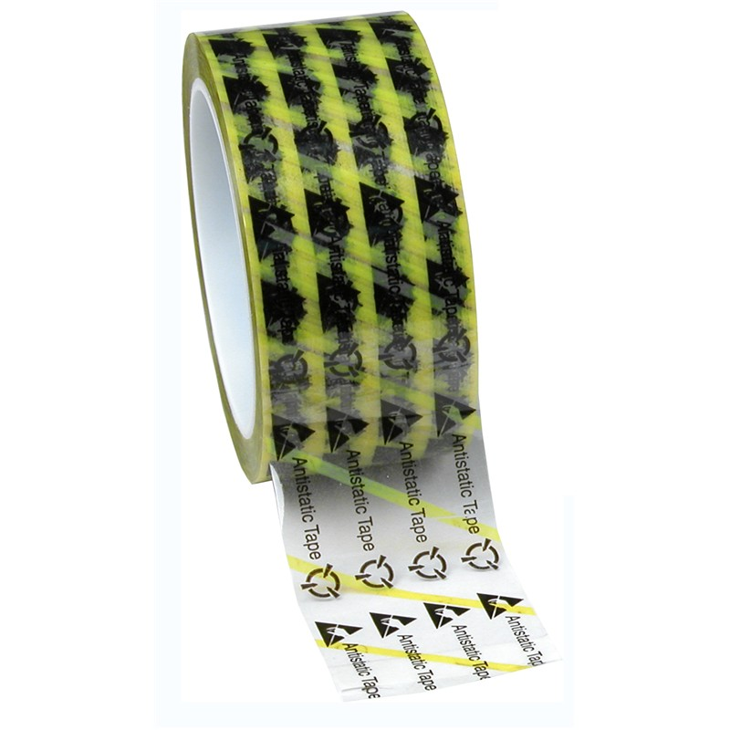 79278-WESCORP ESD TAPE, CLEAR YELLOW STRIPE, 2''x72YDS, 3'' CORE