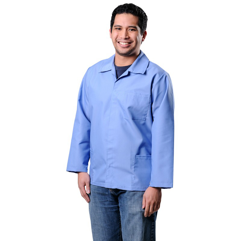 73506-SMOCK, ESD, HEAVY DUTY, COTTON POLY, 1% C,  BLUE, MEDIUM