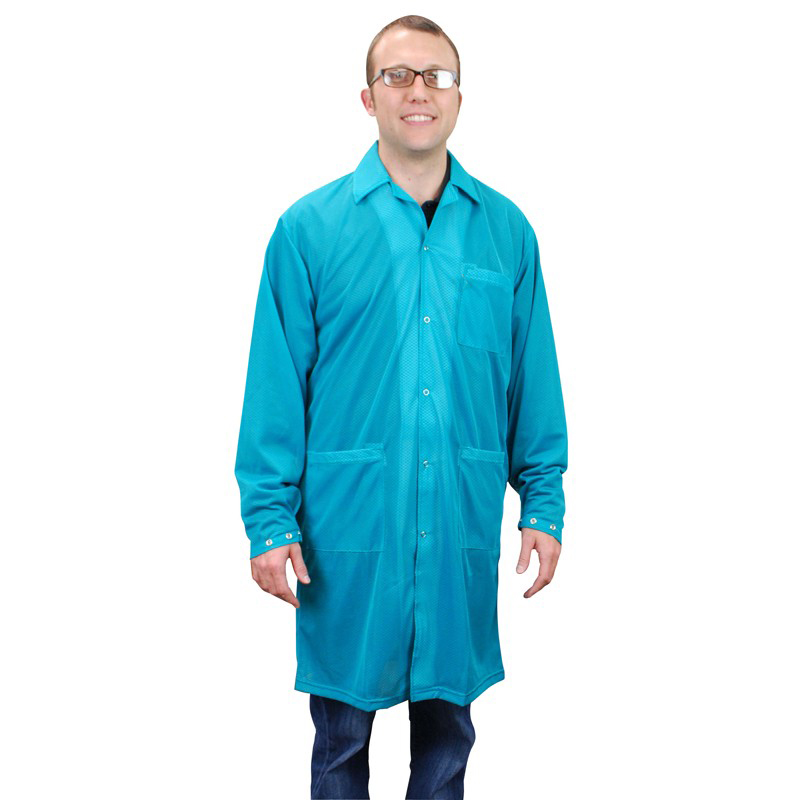 73642-SMOCK, STATSHIELD, LABCOAT, SNAPS,TEAL, MEDIUM